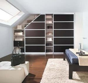 Made to measure fitted slopped ceiling sliding angled door loft wardrobe
