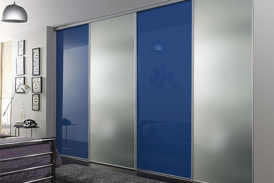 Modern made to measure silver blue sliding door built in for Built in sliding doors