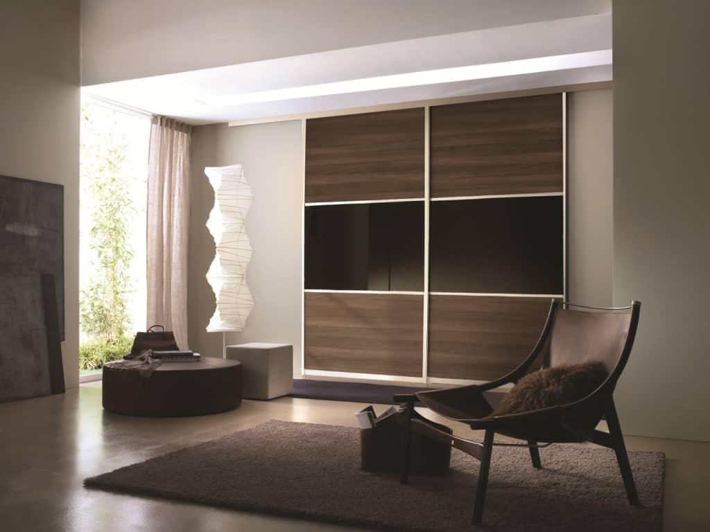 Beautiful silver frame melamine and glass sliding door for Modern sliding closet doors
