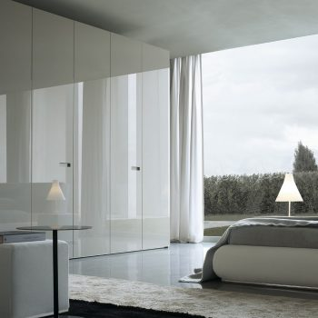 high gloss contemporary fitted bedroom wardrobe