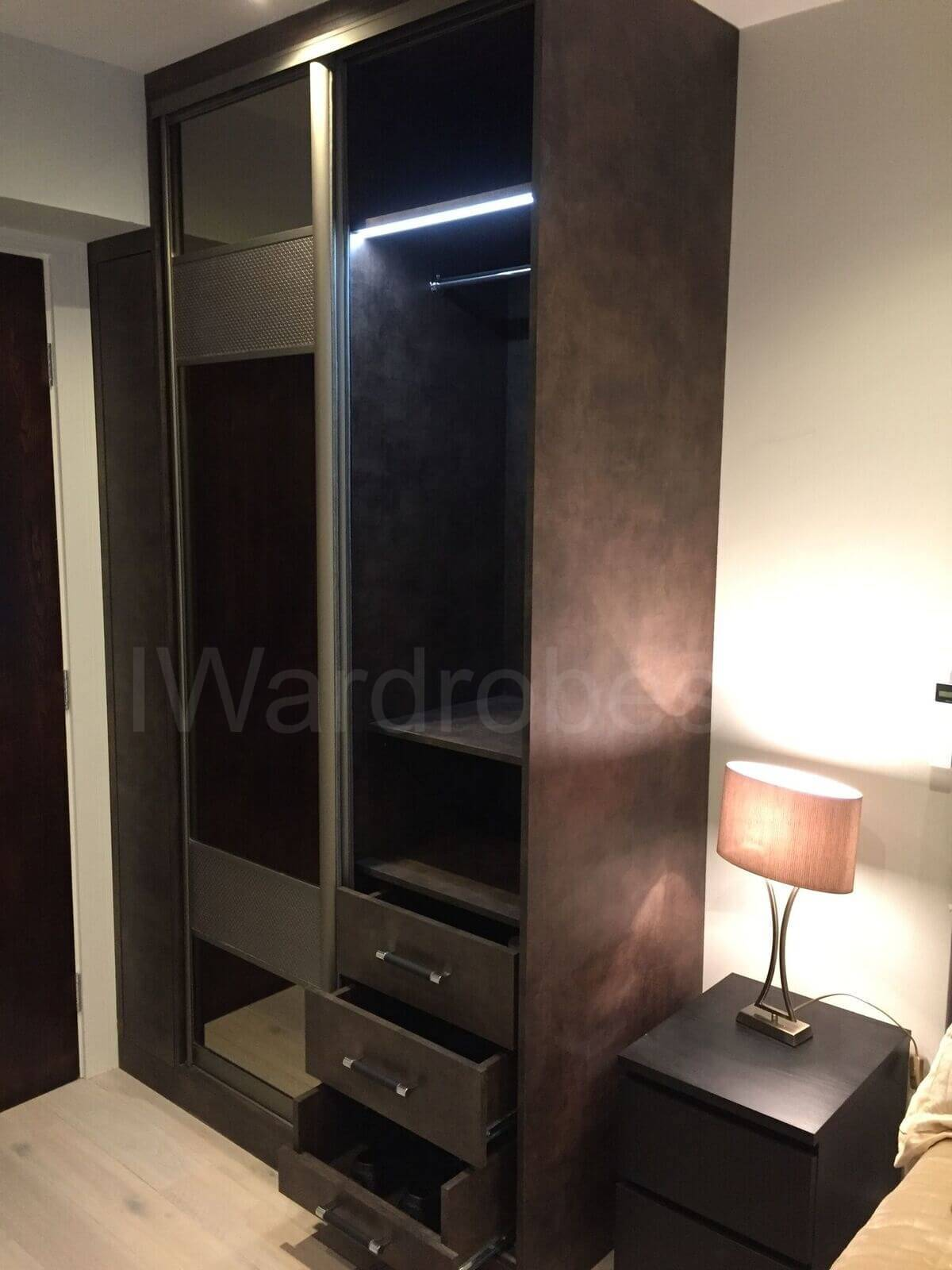 Built in sliding wardrobe with sensor LED lightning and fitted shoe drawers