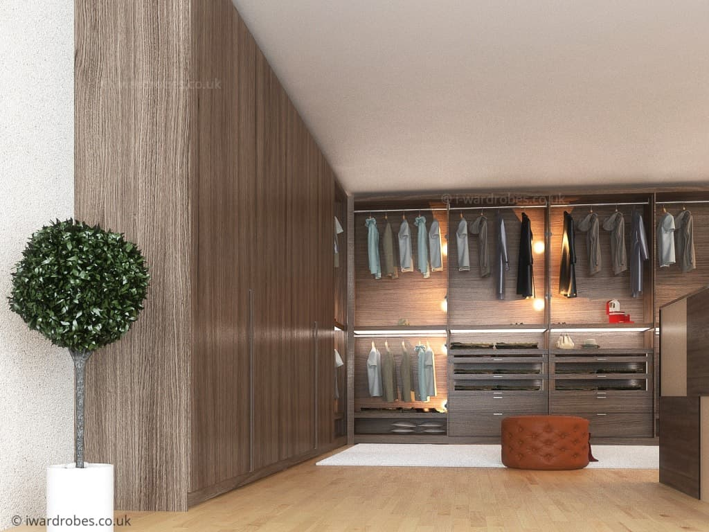 Modern fitted walk in wardrobe in London