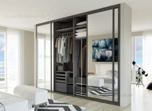 Fitted mirror wardrobe