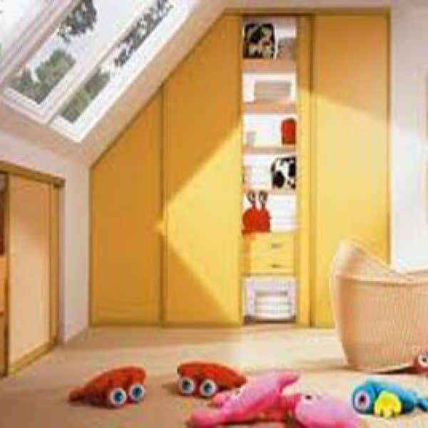 nursery slopped ceiling angled sliding door kids room wardrobe