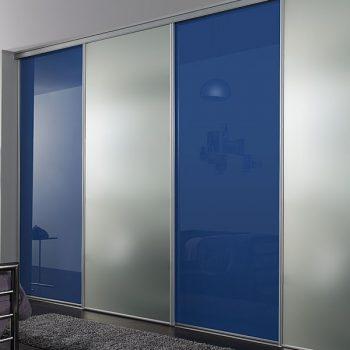 Modern made to measure Silver Blue Sliding Door Built in reception, bedroom, loft Wardrobe