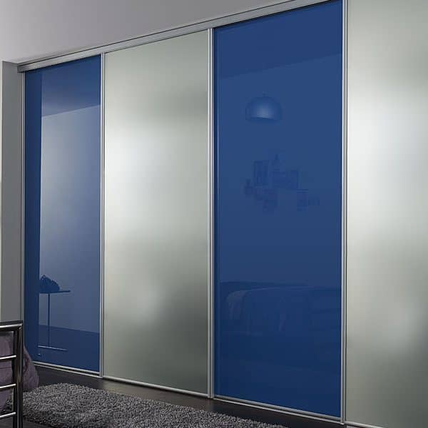 Modern made to measure Silver Blue Sliding Door Built in reception, bedroom, loft Wardrobe
