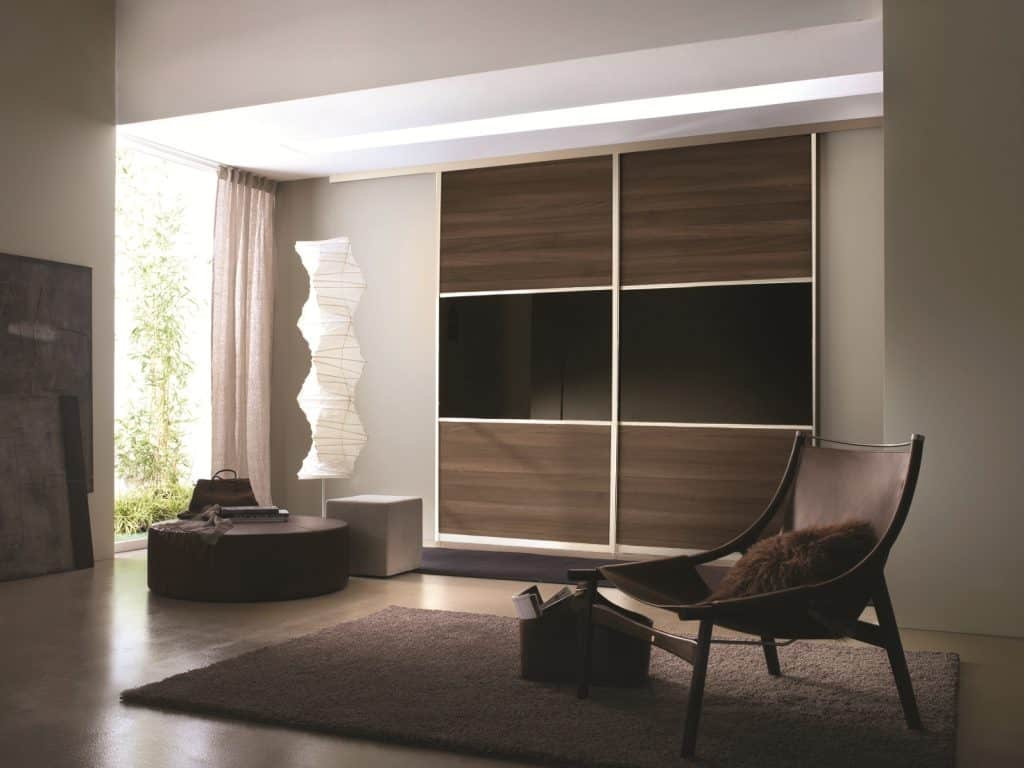 Beautiful Silver Frame Melamine and Glass Sliding Door reception Wardrobe