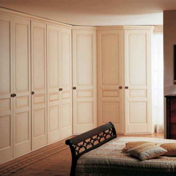Custom-made spray-painted fitted corner closet