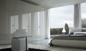 high gloss fitted bedroom wardrobe