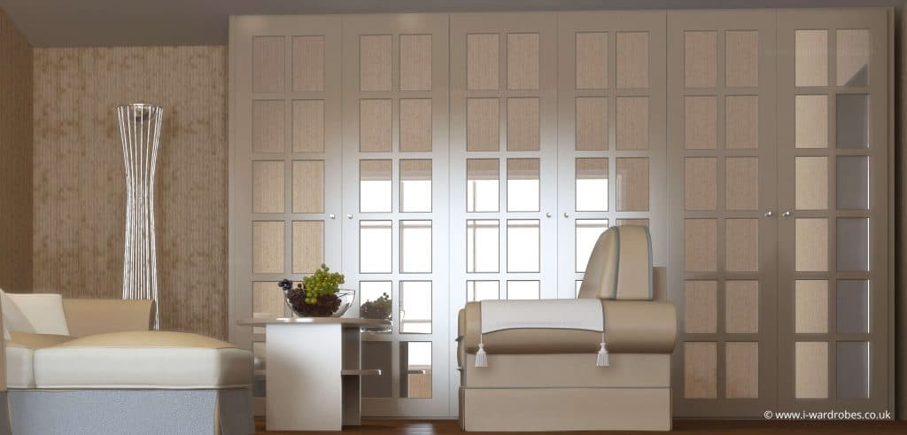 Classic custom made hinged door wardrobe with mirror doors
