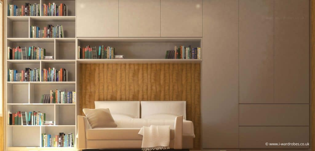 Modern fitted bedroom with bespoke wardrobe and bookcase