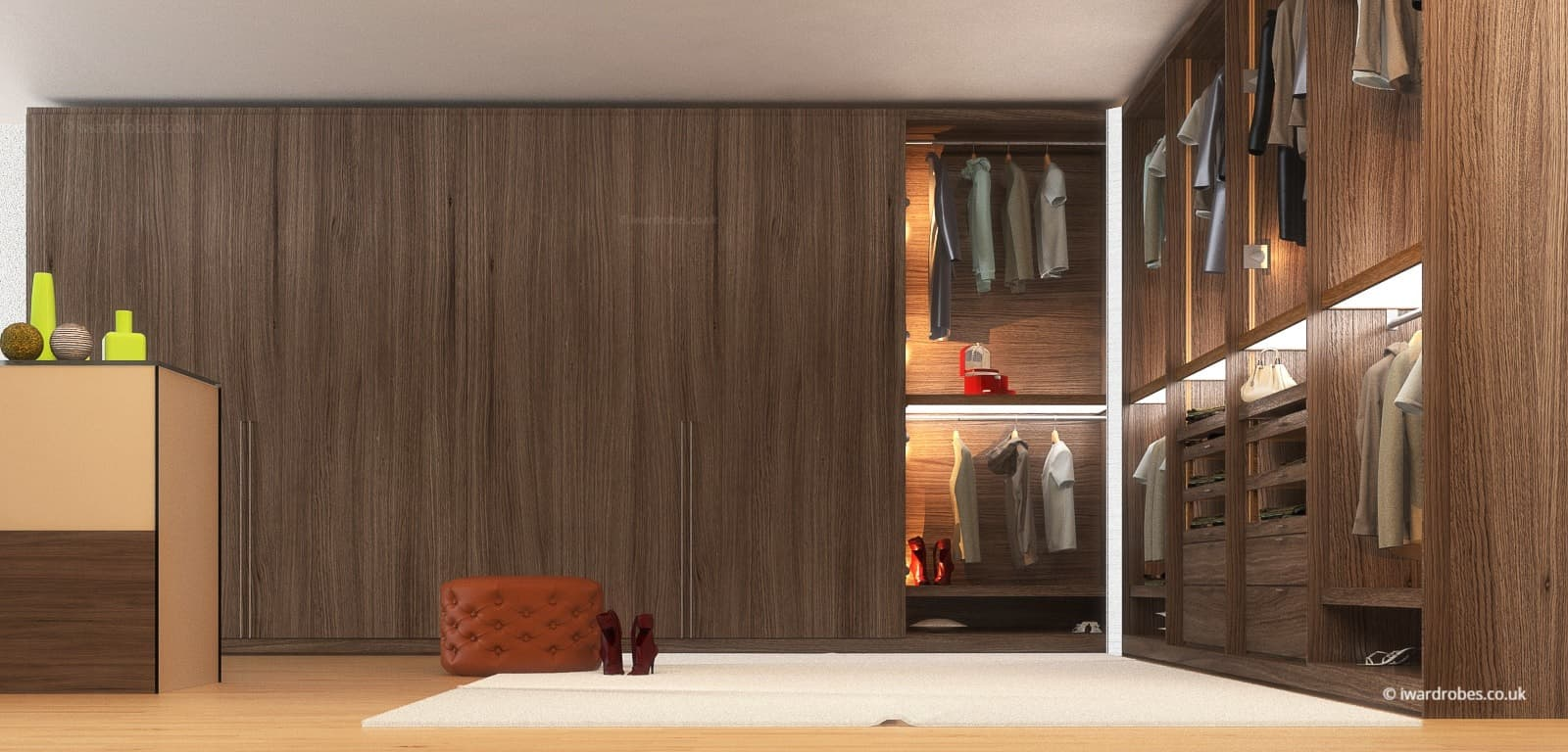 Minimalist stylish walk in wardrobe in London