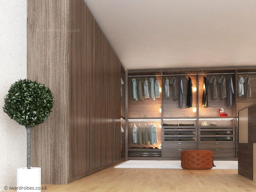 Modern fitted walk in wardrobe in London