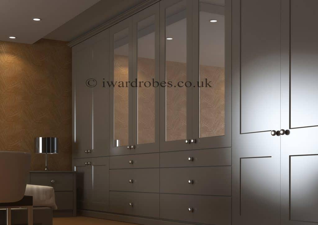 stylish traditional matt painted wardrobe with mirror