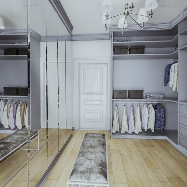 Bespoke fitted painted traditional walk in wardrobe in London