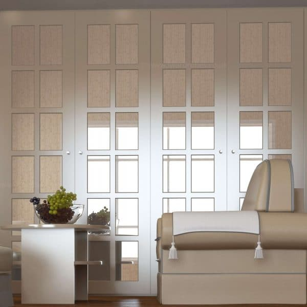 Fitted spray-painted wardrobe with mirror doors