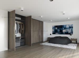 Bespoke bedroom wardrobe with hinged doors