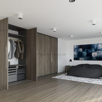 Bespoke bedroom wardrobe with hinged doors