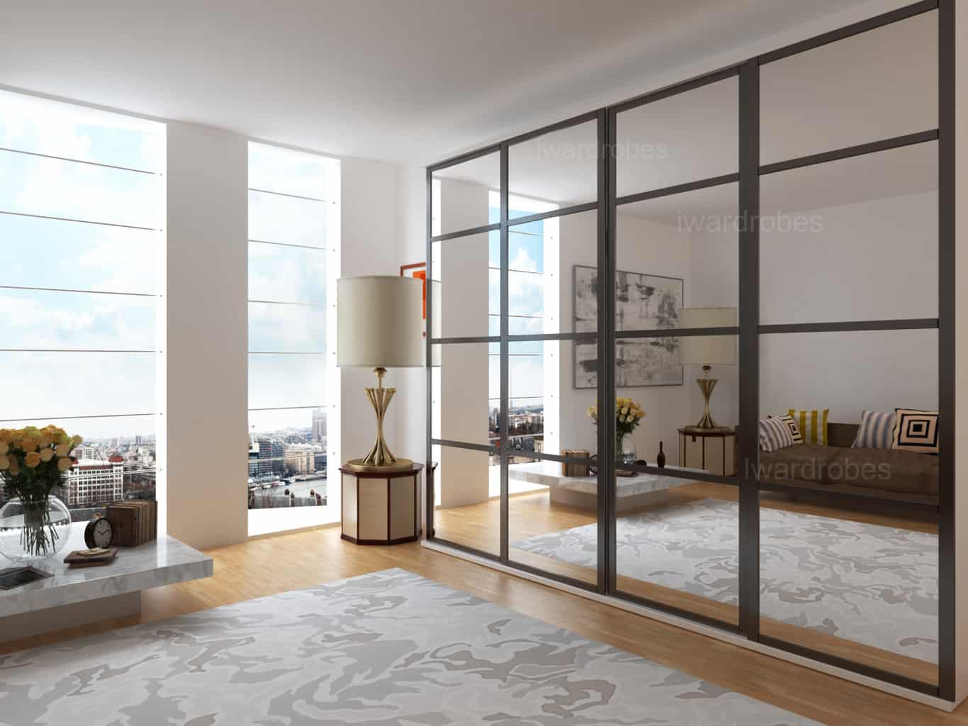 Merveilleux Modern Mirrored Sliding Door Fitted Wardrobe