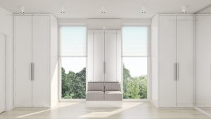 Matt white wardrobe with hinged doors