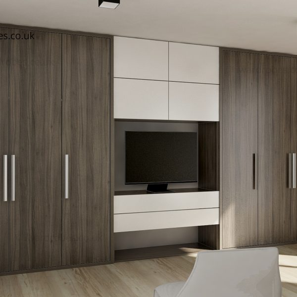 Modern fitted hinged door reception wardrobe