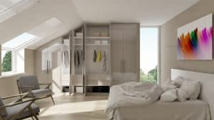 Made-to-mesure high gloss wardrobe for loft bedroom