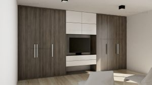 Bespoke fitted reception storage with TV recess and wardrobe