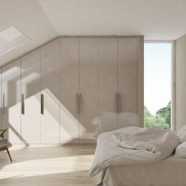 Fitted high gloss loft wardrobe in London