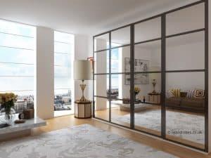 Modern mirrored sliding door fitted wardrobe