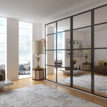 Modern mirrored sliding door fitted wardrobe