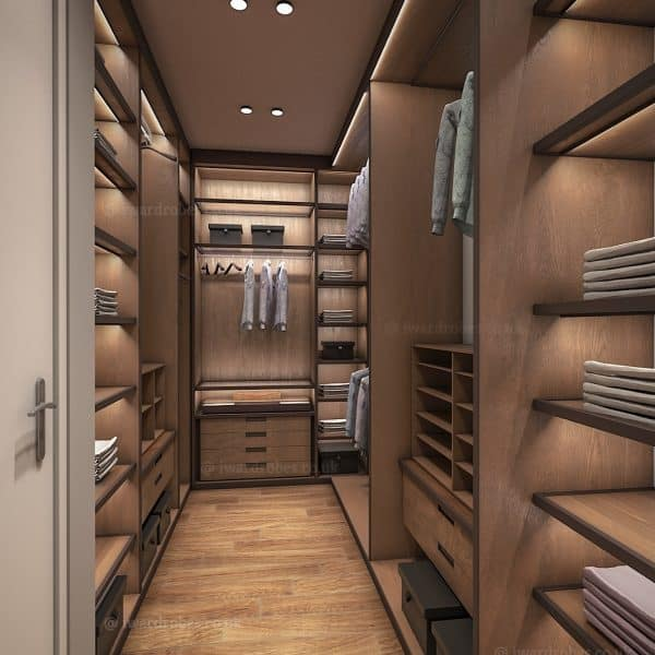Luxurious fitted wardrobe with LED lights, fitted shoe storage