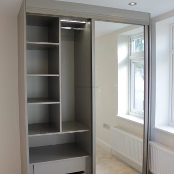 Custom made sliding mirror door wardrobe in London