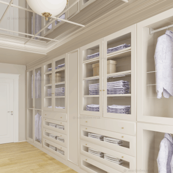 Made to measure fitted shaker-style walk in closet in London