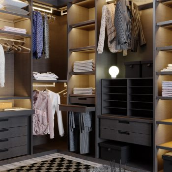 Designer dressing room with hinged glass door wardrobe