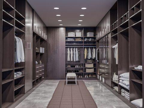 Dark fitted walk in closet
