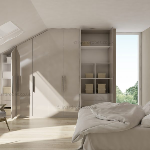 Bespoke high gloss hinged door loft closet