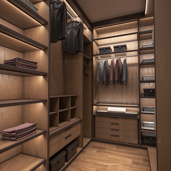 Bespoke walkin wardrobe with fitted drawers, LED lights