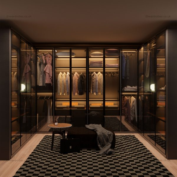 bespoke dressing room with glass doors in London