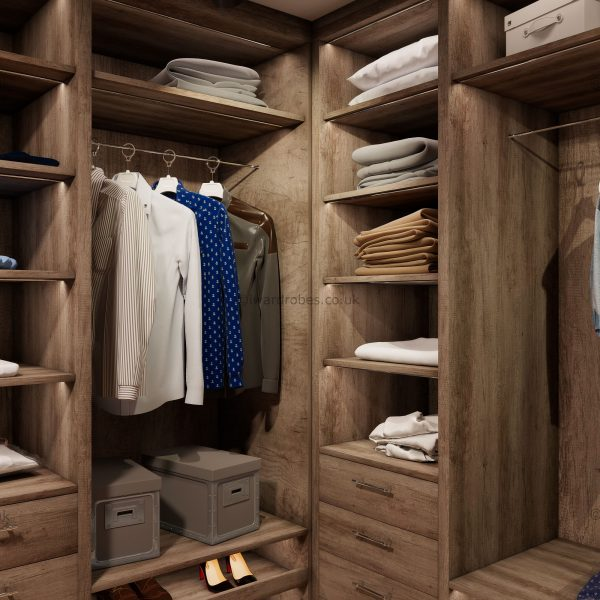 Modern made to measure walk in wardrobe