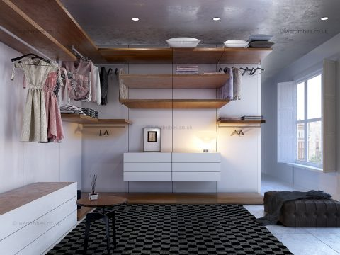Modern fitted open plan dressing rooms