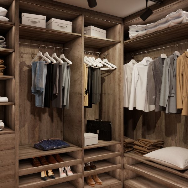 Designer walk in wardrobe
