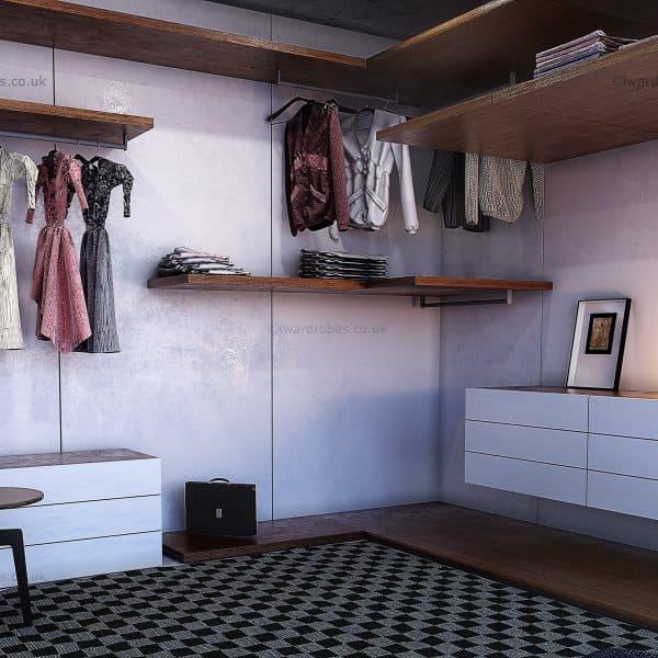 Bespoke open plan walk in wardrobe