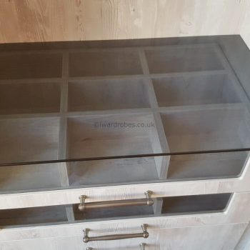 bespoke dressing room with acessory drawers in London