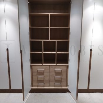 Bespoke fitted modern hinged wardrobe with J handles in London