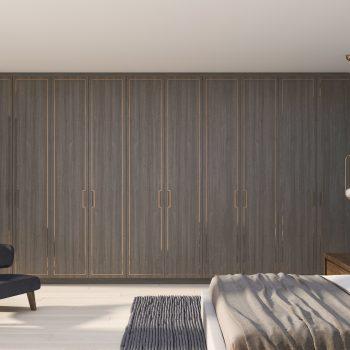 bespoke wooden modern wardrobe in bedroom London