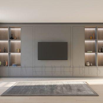 Modern bespoke living room storage unit with TV