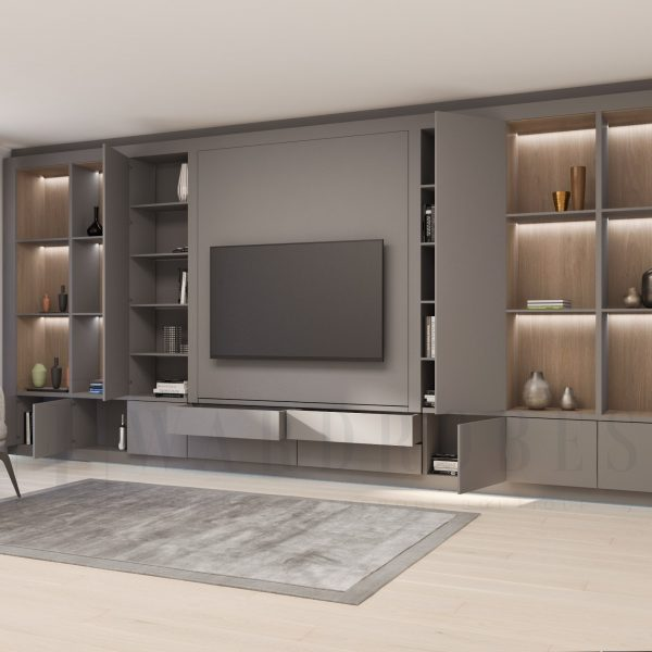contemporary living room storage unit with shelving and push to open doors