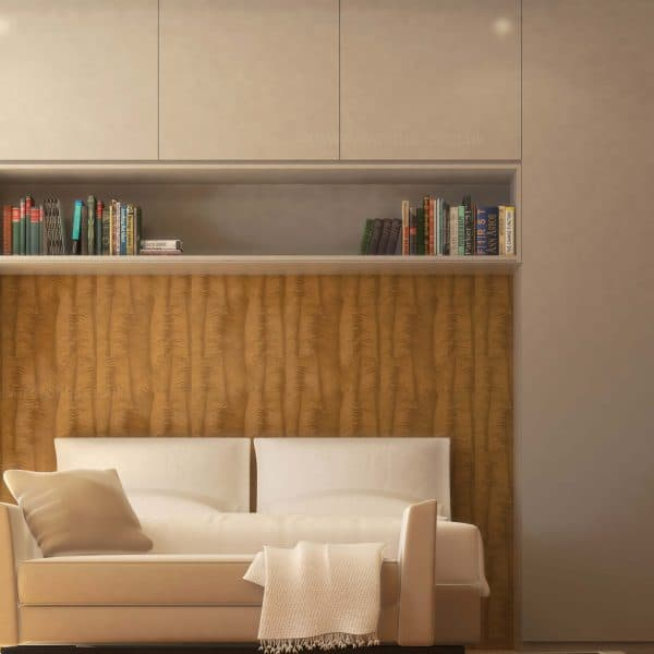 Contemporary fitted bedroom wardrobe with hinged doors