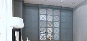 Bespoke shaker-style wardrobe with hinged mirro doors