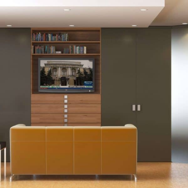Modern made-to-measure wardrobe with hinged door closet and TV niche